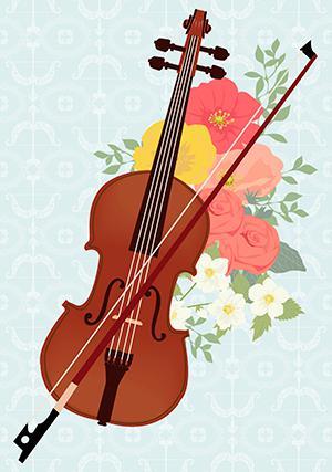 バイオリンと花