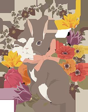ウサギと花2