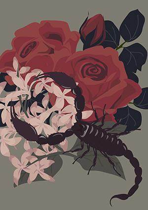 サソリと花